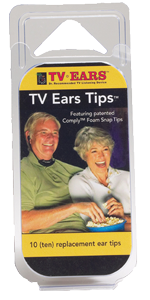 TV Ears Tips. 10 Pack of Comply Foam Snap Tips.